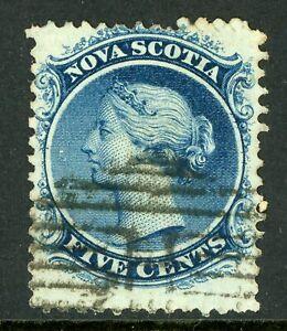 Canada 1860 Nova Scotia 5¢ Queen Victoria White Paper Sc 10 VFU F208