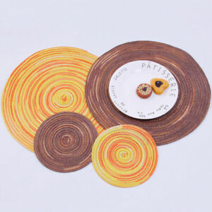 4-8PCS-Round-Cotton-Woven-Heat-Insulation-Washable-Non-Slip-Table-mats-Placemats