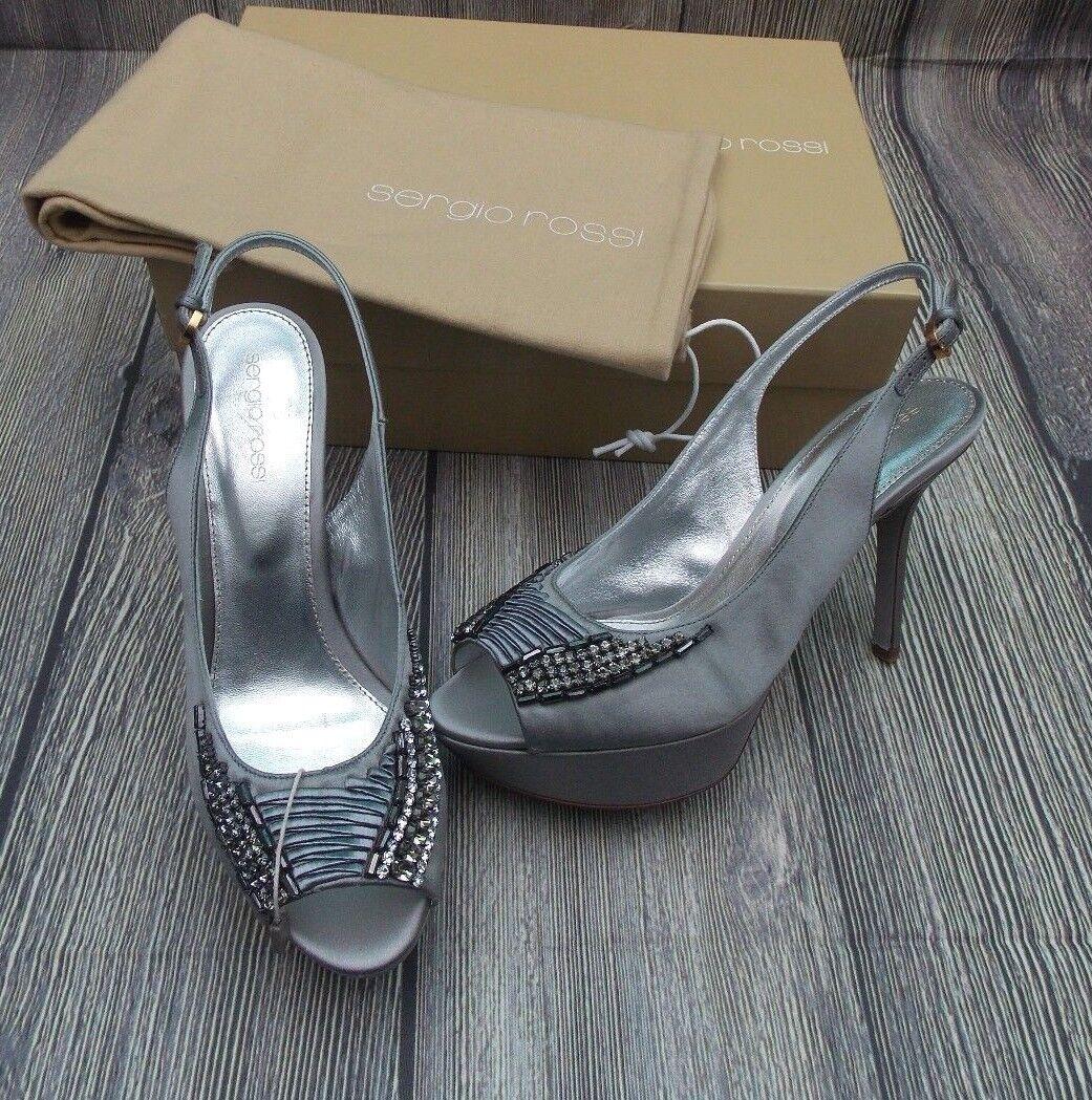 SERGIO ROSSI SATIN EMBELLISHED SLINGBACK SANDALS BN  chaussures HEELS 5uk PEEP