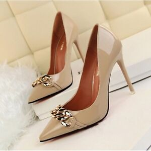 decolte scarpe donna eleganti beige fashion tacco 11 stiletto simil pelle CW102