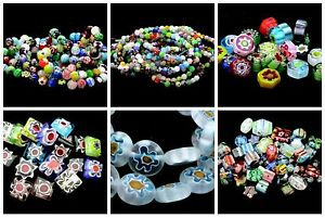 Quality-Mixed-Colour-Round-Millefiori-Beads-Flower-Pattern-4mm-6mm-amp-8mm