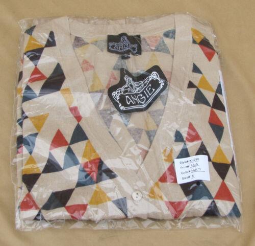 Angie Cardigan Geometric Diamond Beige 100/% Cotton  BNWT