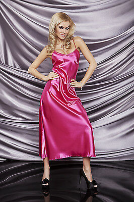 Sexy Long Satin Nightdress IGA Satin Chemise Nightwear Nightie Slip Pink Black
