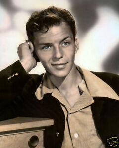 """Frank Sinatra alte blaue Augen Schauspieler & Sänger 8x10"""" Hand Farbe Getönt Foto"""