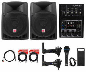 "Complete Crossfit Gym Sound System (2) Rockville 12"" Speakers+Macki<wbr/>e Mixer+More!"