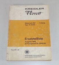 Teilekatalog / Ersatzteilliste Kreidler Florett RS 5-Gang Typ K54/53 Stand 1968