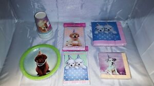 Dog-Pet-Party-in-a-box-for-8-Hats-plates-cups-and-much-more-NOS