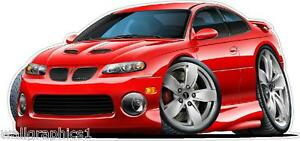 2004 Pontiac GTO Cartoon Car Wall Decal Game Room Graphics Garage Cling Poster