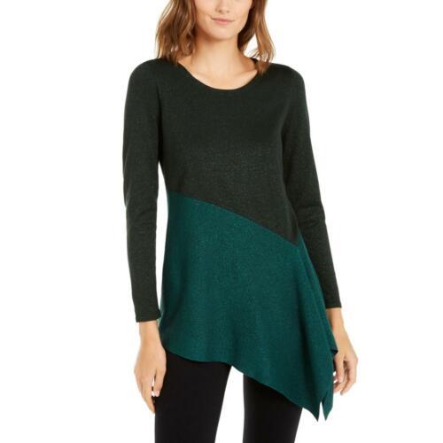 Alfani Womens Metallic Colorblock Asymmetric Blouse Shirt BHFO 0428