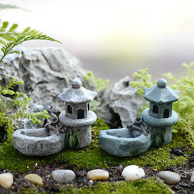 Mini Retro Pond Tower Craft Fairy Garden Decor Figurines Toys Micro Landscape1