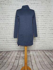 Fat Face Blue Wool Cashmere Blend Roll Neck Oversized Tunic Jumper - UK 6 8 10 S