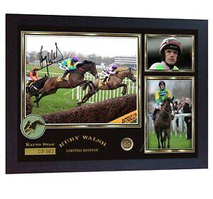 Ruby-Walsh-Kauto-Star-Limited-Edition-signed-Horse-Racing-Jockey-photo-pr-Framed