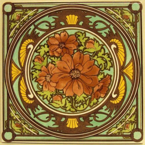 """Soiree Reverie Floral Tile 6/"""" Mucha Femme Art Nouveau Tile Main Décoré UK"""