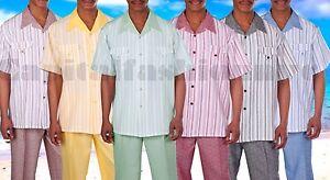 Men-039-s-Summer-2-pc-Leisure-Suit-short-sleeve-shirt-amp-pants-Casual-Walking-Suit