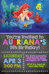 Image Is Loading Little Mermaid Invitations Ariel Birthday Party Shipped Or