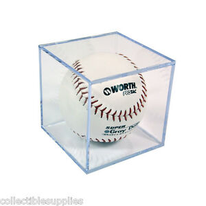 NEW SOFTBALL SQUARE DISPLAY CASE CUBE HOLDER