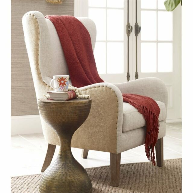 Marvelous Elle Decor Mid Century Wingback Accent Chair In Beige Cjindustries Chair Design For Home Cjindustriesco