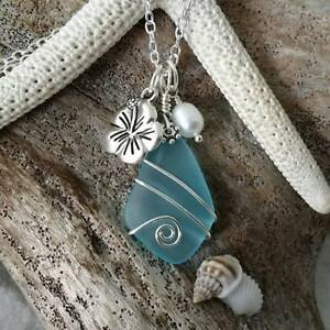 Handmade In Hawaii Wire Wrapped Blue Sea Glass Necklace
