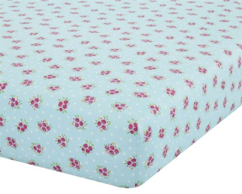 FLORAL FLOWERS SPOTS BLUE PINK DOUBLE 135X190+25CM COTTON BLEND FITTED SHEET