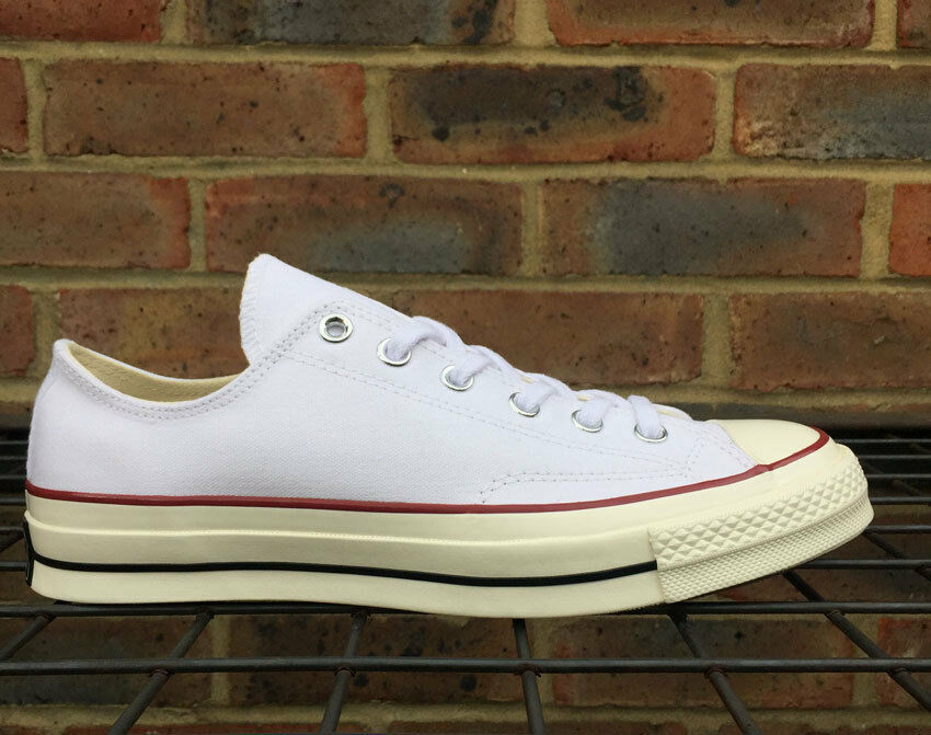 Converse 1970's Chuck Taylor Premium Weiß Canvas Low Top Trainers Turnschuhe 70