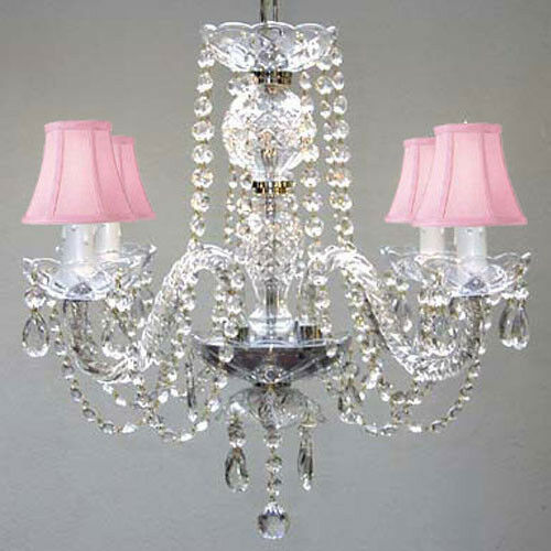 Details about 4 LIGHT VENETIAN STYLE CRYSTAL CHANDELIER PINK SHADES DINING  LIVING ROOM BEDROOM