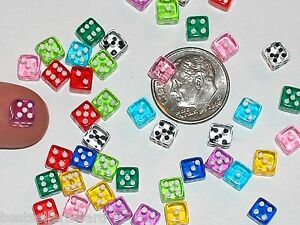8pc-Lot-tiny-Miniature-Dollhouse-dice-die-charm-miniatures-findings-5mm-no-hole