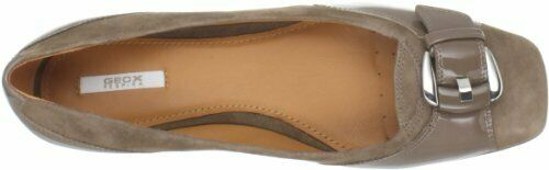 NIB Geox Stefany Taupe Suede Patent Leather Breathable Sole Comfort Loafers 6.5M