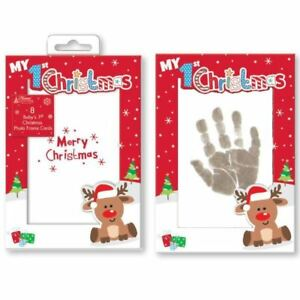 Baby-039-s-1st-Christmas-Card-Photo-Inkless-Wipe-amp-Paper-for-Hand-Foot-Print-Cards