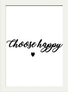 Inspirational Quote Choose Happy Print Home Wall Pop Art A4 Positive