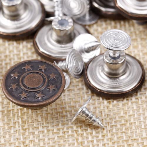 17mm Hammer on Jeans Buttons Denim Brass Studs Jacket Dress Repair