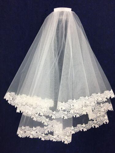 Luxe voile blanc avec dentelle bordure idéal communion BN