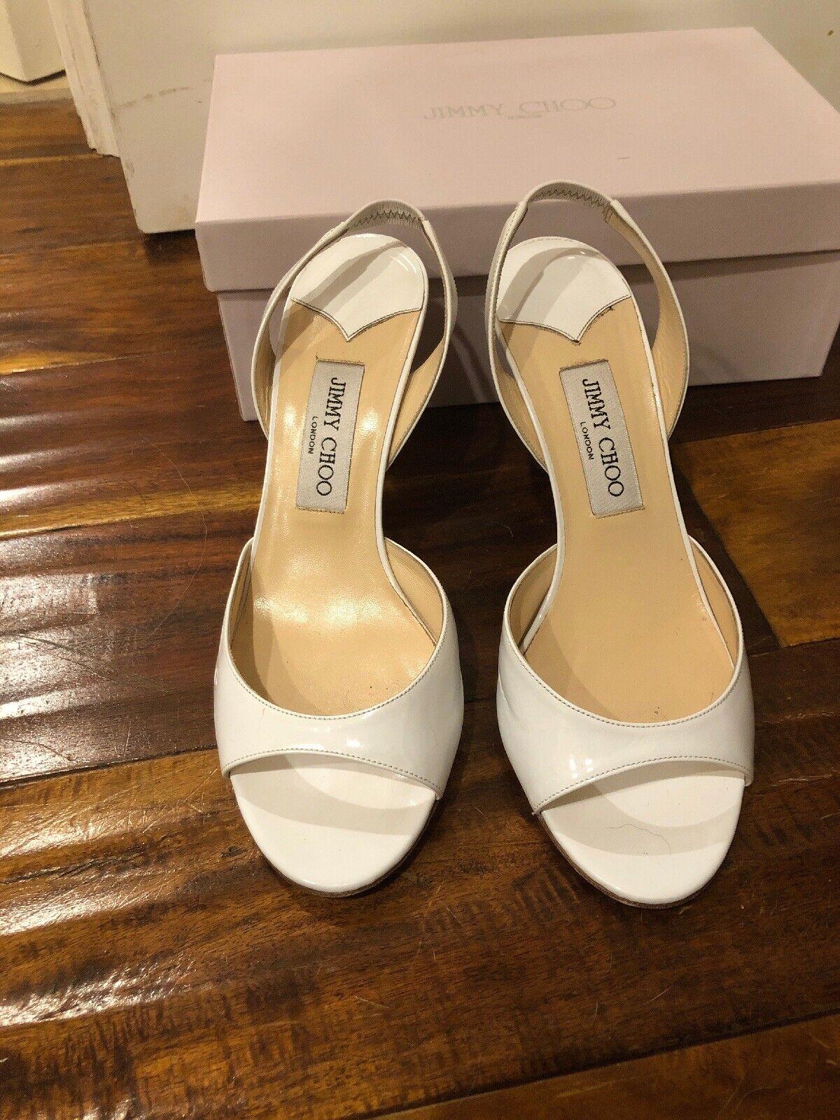 Jimmy Choo White Patent Slingback Heels 39.5