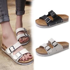 f77840519730 Women Summer Beach Slip On Flat Flip Flops PU Leather Sandals ...