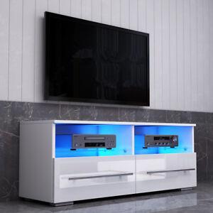 Modern Tv Unit 100cm Matt White High Gloss 2 Drawers Cabinet Stand