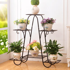6 Tier Steel Indoor Outdoor Plant Stand Metal Flower Pot Holder