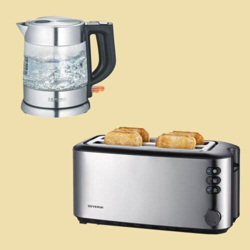 Wasserkocher WK 3468 Doppel-Langschlitz-Toaster AT 2509 Severin Set