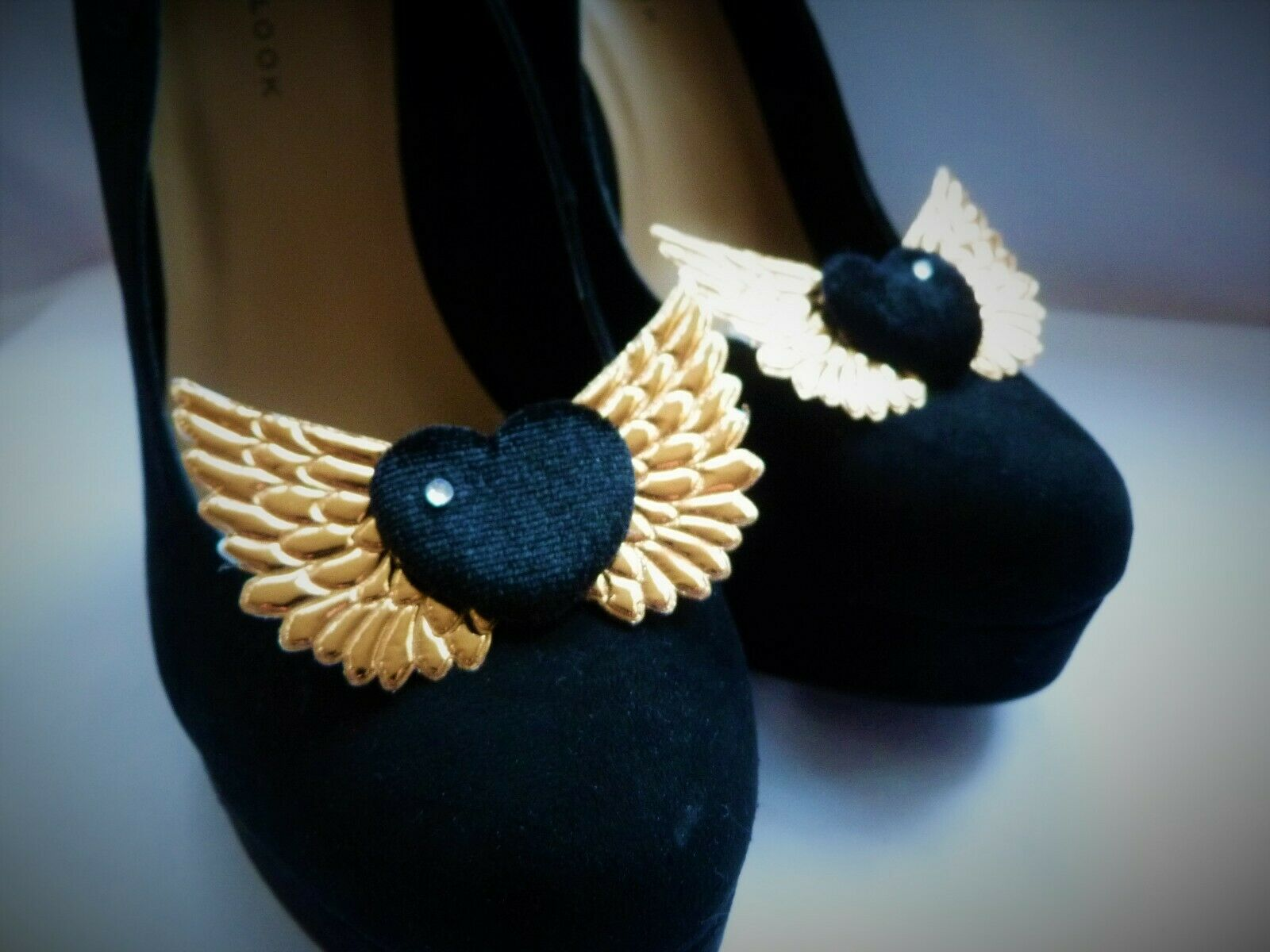 Black Satin Hearts & Gold Wings Shoe Clips - Handcrafted, Rock'n'Roll Bride