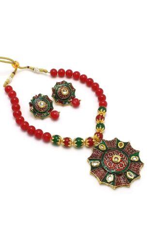 Kundan Antique Copper Plated Indian Pearl Enamel Jewelry Necklace Earrings Set