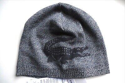 407e9e556fcb Lacoste Crocodile 100 Merino Wool Navy Marl Reversible Skull Beanie Hat Tags