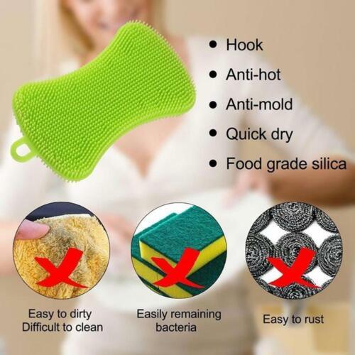 4pcs Kitchen Silicone Scrubber Sponge Brush Dish Pot Pan Washing Cleaning Tools