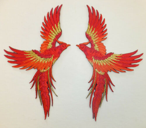 PHOENIX BIRD IN FLIGHT PATCH x 2 left//right pair *IRON-ON//SEW ON* red//gold