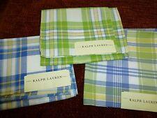 RALPH LAUREN New Green Blue PLAID cotton 11 pieces large samples woven fabric