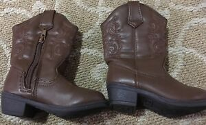 00ad6cab953 Details about New Smart fit Skid-resistant Brown Western Cowgirl Cowboy  Boots, Toddler 6.5 FS