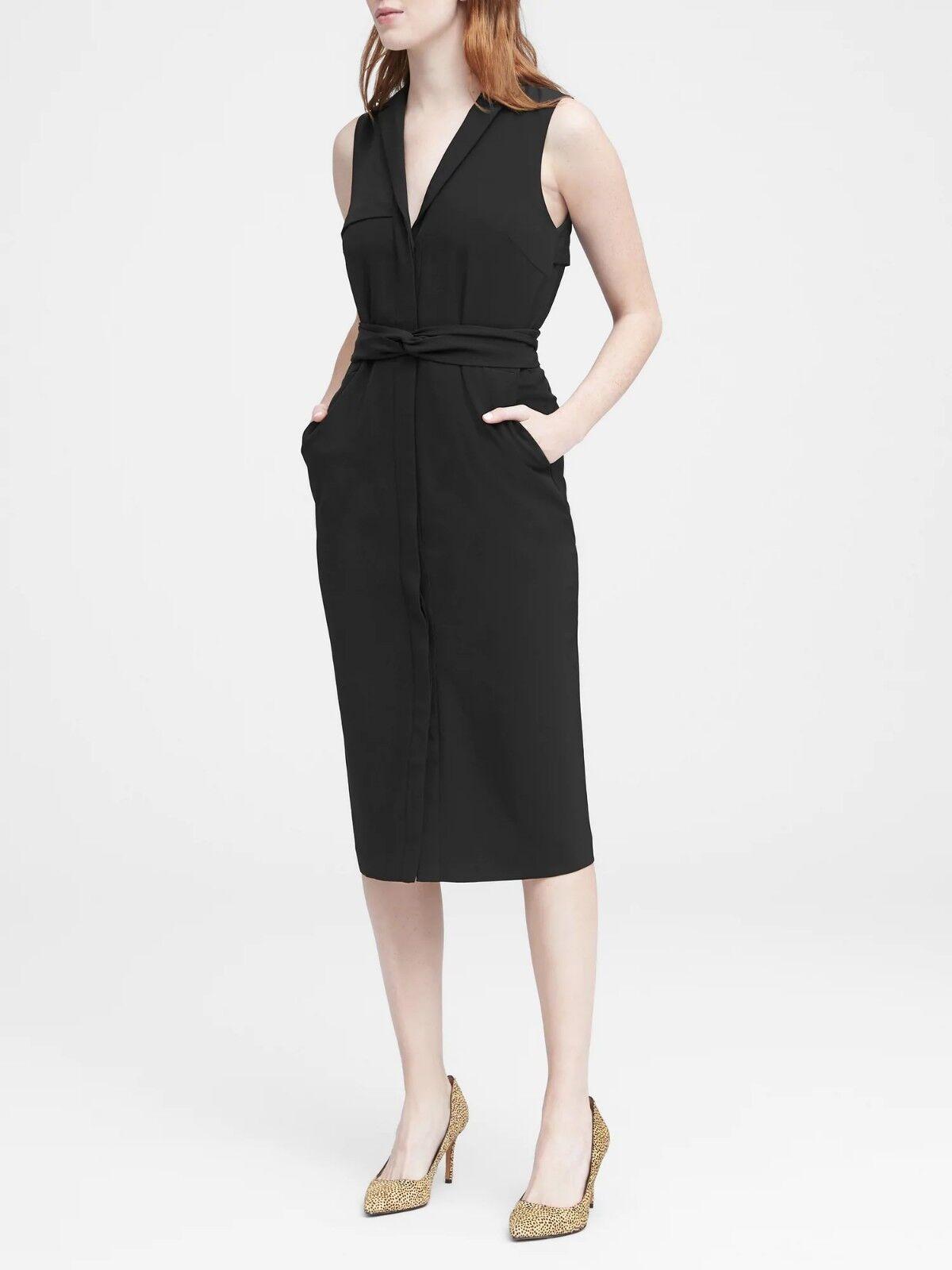 NWOT Banana Republic Trench Dress, schwarz Größe 6                    E1230