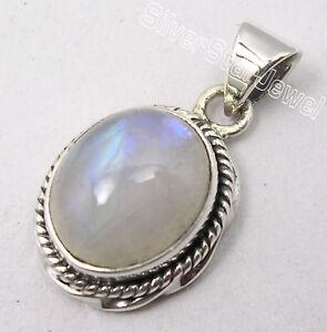 925 Silver Rainbow Moonstone magnifique pendentif 2.8 cm