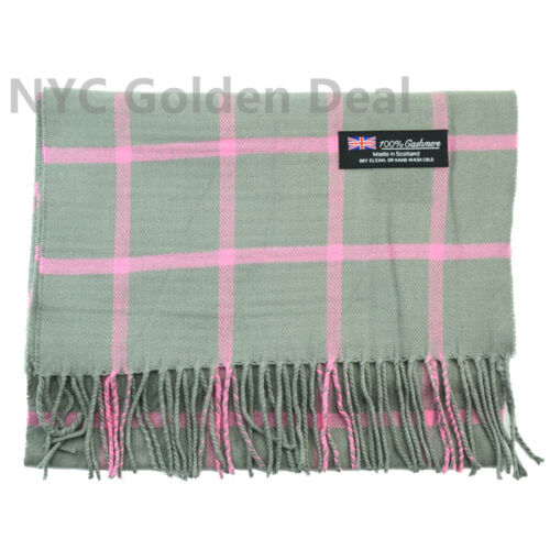 Men Women  100/% CASHMERE Warm Soft Scarf Checked MADE IN SCOTLAND Gray Pink