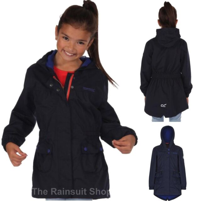 6dcd516d3 Regatta Treasure Girls Waterproof Parka Jacket Navy & Pink Navy 3 ...