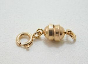 14K Rose Gold Strong Magnetic Jewelry Clasp with Spring Ring Clasp