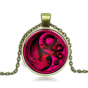 Vintage-dragon-and-phoenix-Cabochon-Bronze-Glass-Chain-Pendant-Necklace-BAC106
