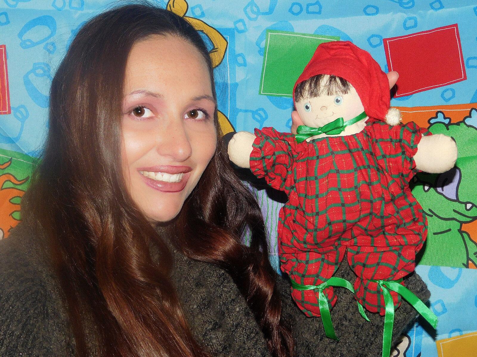 Uno de una clase de tela Bebé Muñeca por Jan Shackelford 10 1 2  largo firmado Raro Bebé Cabello Castaño